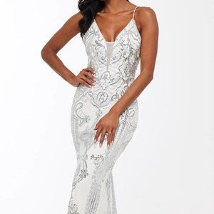 NWT! Betsy & Adam Anne Sequin Mesh Long Gown Ivory